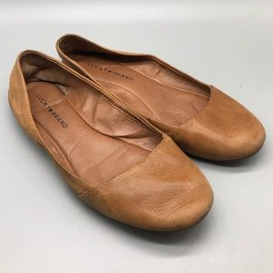 Lucky Brand light brown tan Emeralda round flats